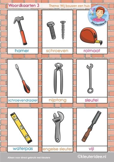 Woordkaarten 3, thema 'wij bouwen een huis', kleuteridee, free printable.
