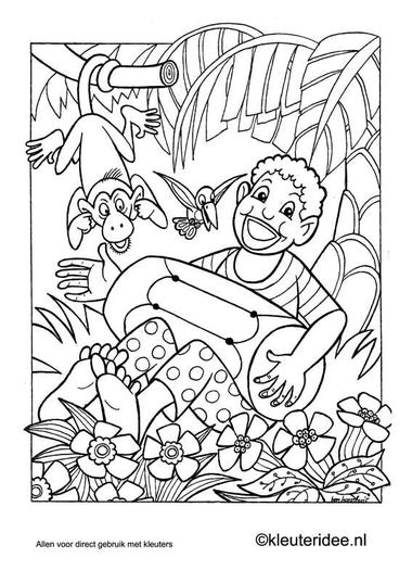 Kleurplaat Afrika, kleuteridee.nl , African coloring.