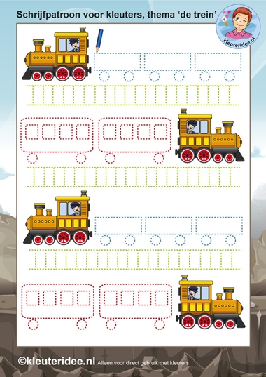 schrijfpatroon voor kleuters 2, thema de trein, kleuteridee.nl, free printable..