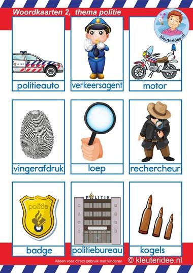 Woordkaarten 2 voor kleuters, thema politie.