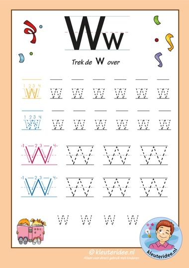 Pakket over de letter w blad 7, trek de letter w over, letters aanbieden aan kleuters, kleuteridee, free printable k