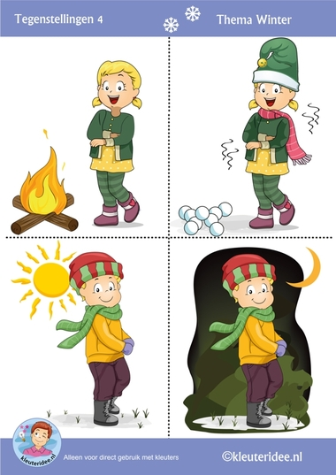 Tegenstellingen voor kleuters 4, thema winter, Preschool winter opposites, free printable.