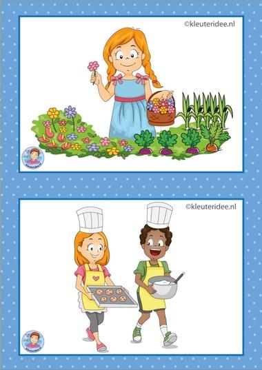 7 Schooltuin en bakken en koken. 32 dagritmekaarten voor kleuters, juf Petra kleuteridee / Preschool schedule cards