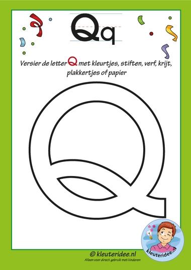 Pakket over de letter q blad 6, versier de hoofdletter Q, kleuteridee, free printable