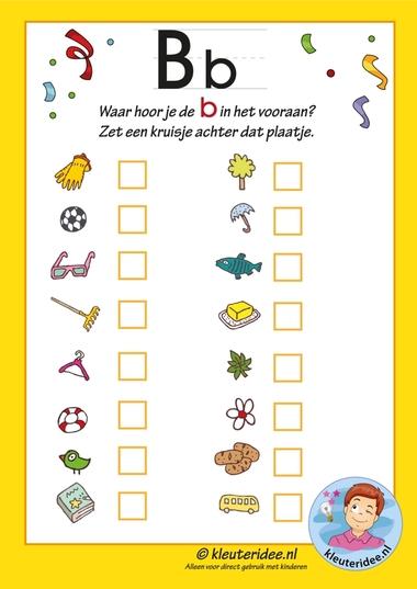 Pakket over de letter b blad 9, in welk woord hoor je een b, waar hoor je vooraan de b, letters aanbieden aan kleuters, kleuteridee.nl, free printable.