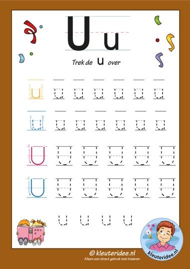 Pakket over de letteru blad 7, trek de letter u over, letters aanbieden aan kleuters, kleuteridee, free printable k