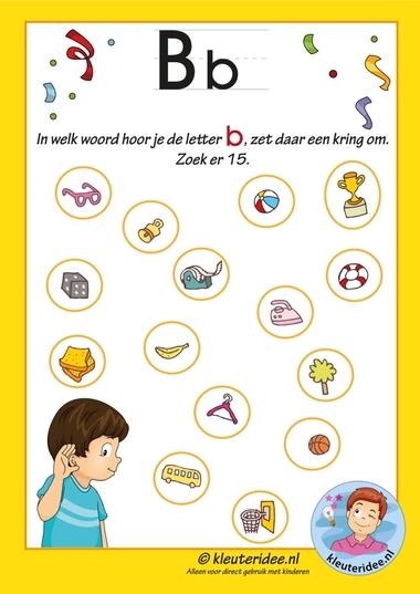 Pakket over de letter b blad 8, in welk woord hoor je een b, antwoordenblad, letters aanbieden aan kleuters, kleuteridee.nl, free printable.