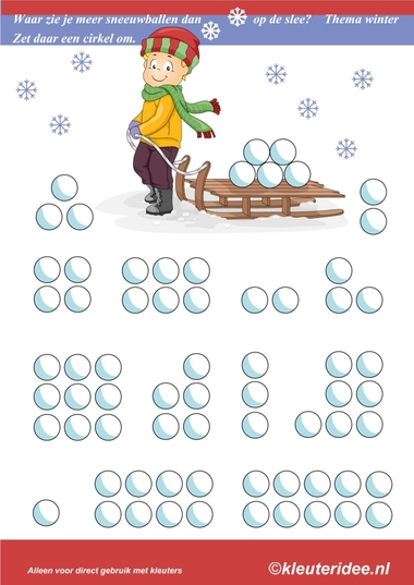 Waar zie je meer sneeuwballen dan op de slee, thema winter, kleuteridee.nl , where you see more than snowballs on the sled, free printable.