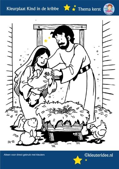 Kleurplaat Jozef en Maria , Jezus geboren, thema Kerst voor kleuters, kleuteridee, free printable.