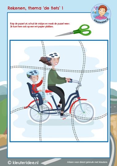 Rekenen thema 'De fiets', kleuteridee, Kindergarten math bike theme cycling 1, free download k