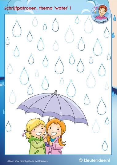 Schrijfpatroon regen, paraplu, thema water, kleuteridee