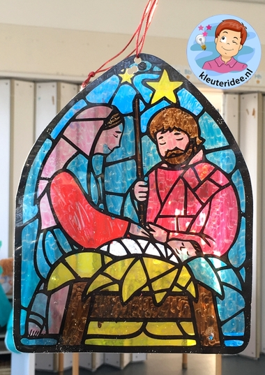 Glas in lood knutsel kerst, stained glass craft nativity kindergarten, kleuteridee
