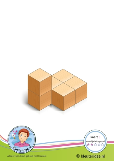 Bouwkaart 3 moeilijkheidsgraad 2 voor kleuters, kleuteridee, Preschool card building blocks with toddlers 3, difficulty 2.