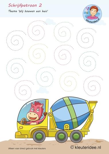Schrijfpatroon 2, thema huizen bouwen, kleuteridee,Kindergarten writing pattern free printable.