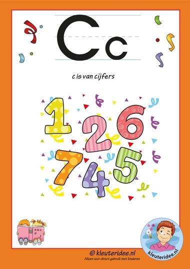Pakket over de letter c blad 2, letterkaart, letters aanbieden aan kleuters, kleuteridee.nl, free printable.