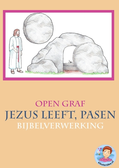 Pasen, Jezus leeft, open graf 2 , knutselen verwerking, kindergarten ressurrection craft, free printable, kleuteridee