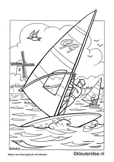 Kleurplaat surfen, kleuteridee.nl , preschool coloring.