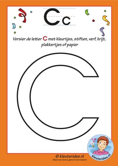 Pakket over de letter C blad 5, versier de hoofdletter C, letters aanbieden aan kleuters, kleuteridee.nl, free printable.