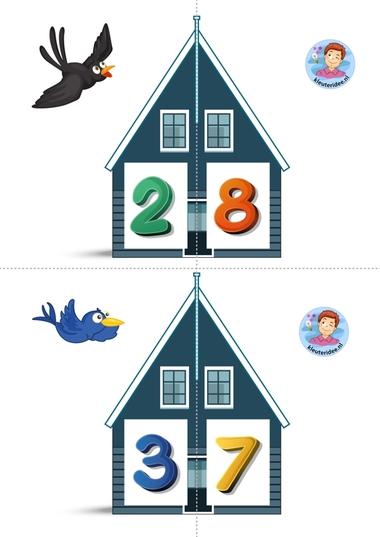 Vrienden van 10 2 kleuteridee.nl, free printable, Twee halve huizen aan elkaar, is precies 10 bij elkaar
