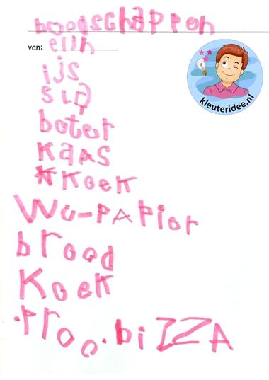 Boodschappenbriefje schrijven met reclamefolder, thema huishouden, kleuteridee, kindergarten housekeeper craft