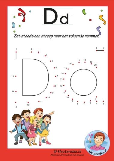 Pakket over de letter d blad 13, verbind de punten, kleuteridee.nl, free printable.