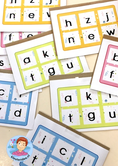 Letterbingo, bewegend leren met kleuters, kleuteridee