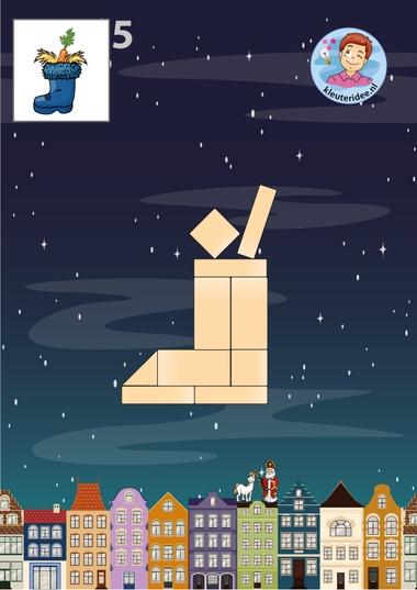 laars, 10 bouwkaarten voor de bouwhoek, thema Sinterklaas kleuteridee