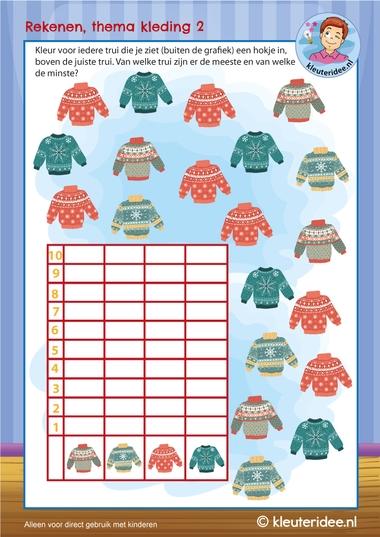 grafiek met truien,  thema kleding, kleuteridee