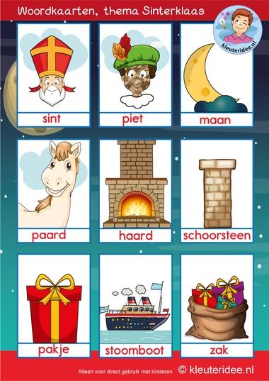 woordkaarten Sinterklaas met roetveegpiet, kleuteridee
