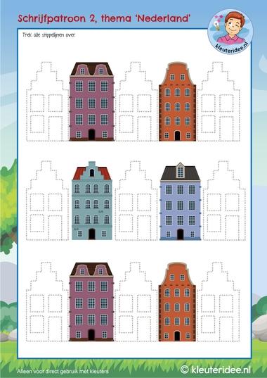 Schrijfpatroon grachtenpand,  thema Nederland