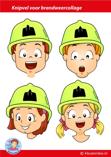 knipvel brandweercollage, kleuteridee