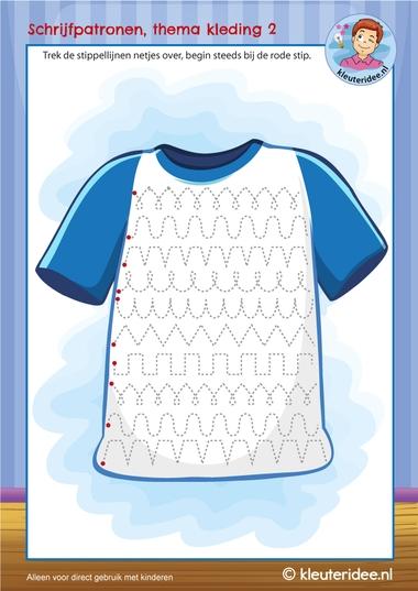schrijfpatroon thema kleding, kleuteridee 2