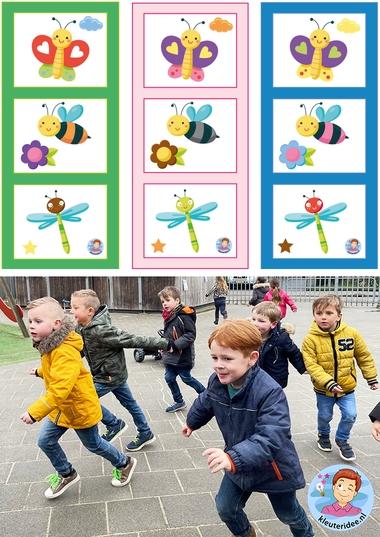 Bewegend leren kleurenklik, kleuters leren kleuren en bewegen, thema insecten, kleuteridee