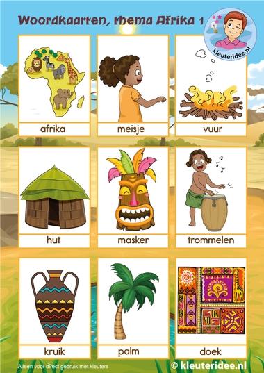 Woordkaarten Afrika 3, thema Afrika kleuteridee