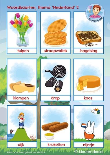 Woordkaarten thema Nederland 2, kleuteridee