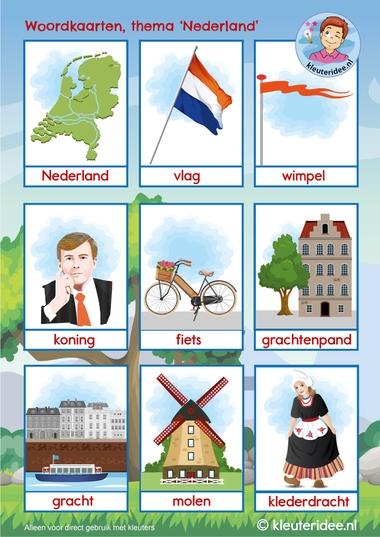 Woordkaarten thema Nederland 1, kleuteridee