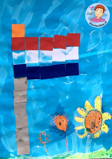 Vlag maken van vierkantjes, thema Nederland, kleuteridee 2