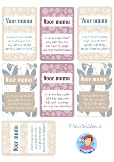 kaartjes met gedicht voor moederdag, kleuteridee