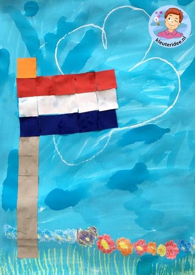 Vlag maken van vierkantjes, thema Nederland, kleuteridee