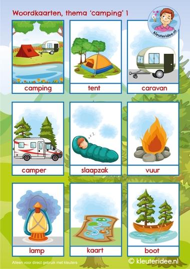 woordkaarten thema camping, kleuteridee 1