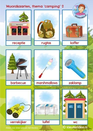 woordkaarten thema camping, kleuteridee 2