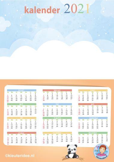 kalender 2021 A3 leeg zalm, kleuteridee