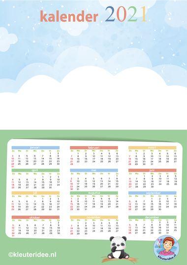 kalender 2021 A3 leeg groen, kleuteridee