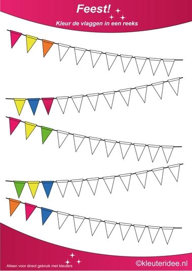 Kleur de vlaggen in een reeks, thema feest voor kleuters, juf Petra van kleuteridee, Color the flags, free printable.