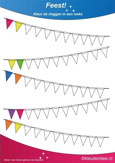 Kleur de vlaggen in een reeks 3, thema feest voor kleuters, juf Petra van kleuteridee, Color the flags, free printable.