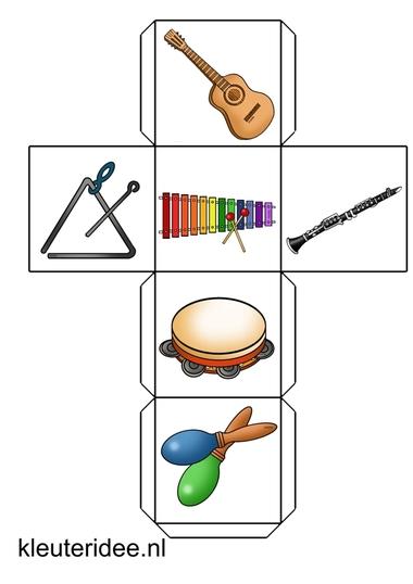 verteldobbelsteen muziekinstrumenten 1, kleuteridee.nl, free printable