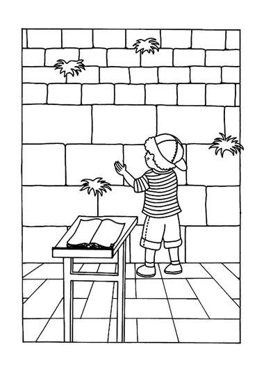 Kleurplaat Israël, jongen bij klaagmuur, kleuteridee