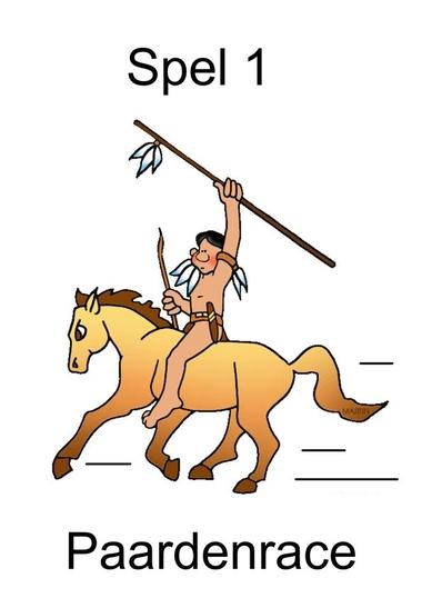 kaart 1 paardenrace, thema indianen, kleuteridee.n