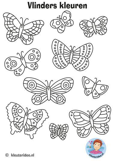vlinders kleuren, kleuteridee