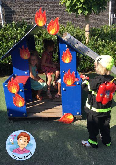 Brand maken en blussen, kleuteridee, thema brandweer, Kindergarten fire fighters theme